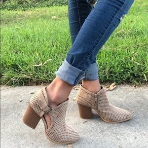 Shoes - TAUPE FAUX SUEDE BOOTIES